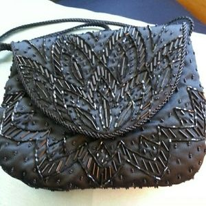 Black Sequin Shoulder Bag